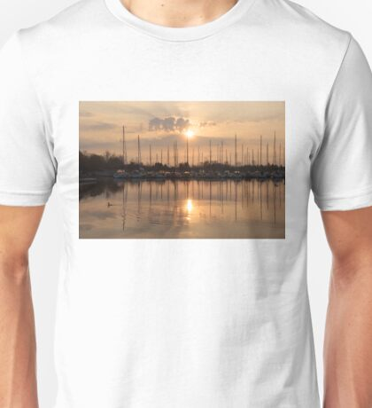 Of Yachts and Cormorants - A Golden Marina Morning Unisex T-Shirt