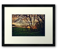 English Countryside Sunset HDR  Framed Print