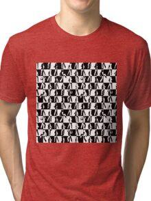 Black and White Checkerboard Retro 80s Disco Dancers Tri-blend T-Shirt