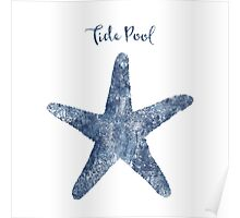 Sponge painted Starfish Tide Pool illustration, delft blue crab, nautical art Poster