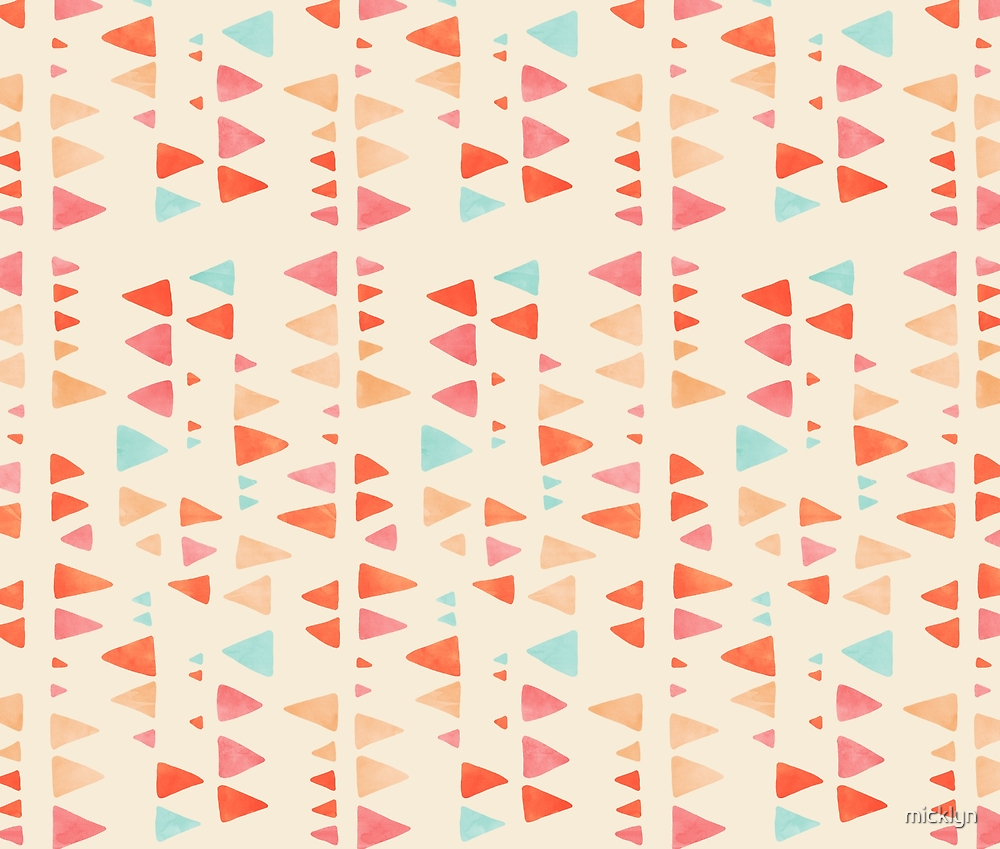 Back & Forth - triangle abstract pattern in peach, aqua & cream by micklyn