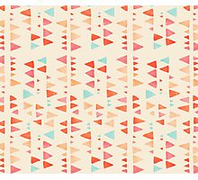Back & Forth - triangle abstract pattern in peach, aqua & cream Photographic Print