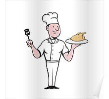 Chef Cook Roast Chicken Spatula Cartoon Poster