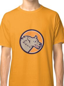 Grey Wolf Head Angry Circle Cartoon Classic T-Shirt