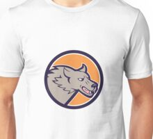 Grey Wolf Head Angry Circle Cartoon Unisex T-Shirt