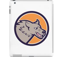 Grey Wolf Head Angry Circle Cartoon iPad Case/Skin