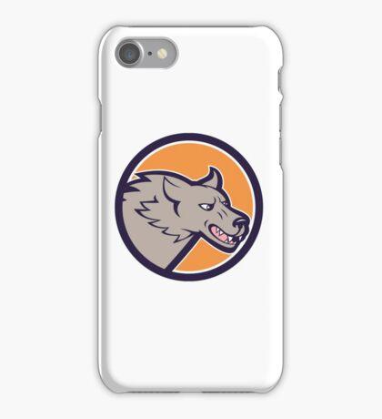 Grey Wolf Head Angry Circle Cartoon iPhone Case/Skin