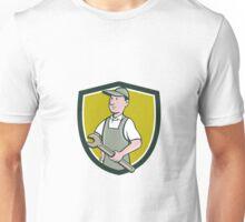 Repairman Holding Spanner Crest Cartoon  Unisex T-Shirt