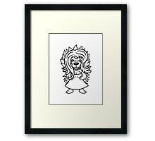 mädchen frau weiblich girl kleid hübsch schön igel lange haare stacheln comic cartoon  Framed Print