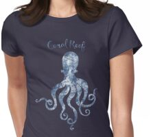 Sponge painted Octopus Coral Reef habitat, delft blue nautical art Womens Fitted T-Shirt