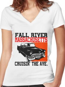 FALL RIVER, MASSACHUSETTS Women's Fitted V-Neck T-Shirt