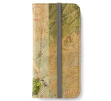 Vintage fairy,collage,parchment,floral,cute,beautiful,pretty iPhone Wallet/Case/Skin