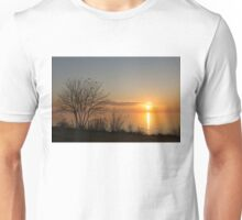 Calm, Sunny and Peaceful - a Lake Shore Daybreak Unisex T-Shirt