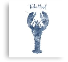 Sponge painted Lobster Tide Pool habitat, delft blue, nautical art Canvas Print