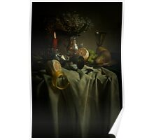 Still life with fruits and fresh flowers Poster