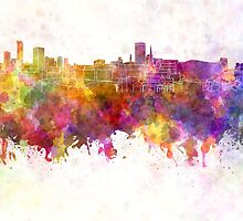 Birmingham skyline in watercolor background by paulrommer