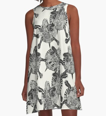turtle party ivory black A-Line Dress