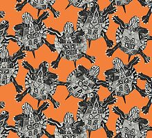 turtle party persimmon by Sharon Turner