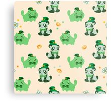 Lucky Citrus Panda and Kitty Pattern Metal Print