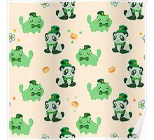 Lucky Citrus Panda and Kitty Pattern Poster