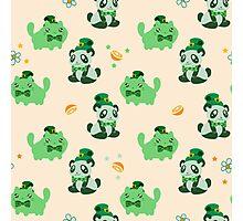 Lucky Citrus Panda and Kitty Pattern Photographic Print