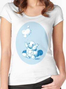 Squirtle Pokemon with Pokeball Women's Fitted Scoop T-Shirt