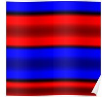 Red & Blue Horizontal Stripes  Poster