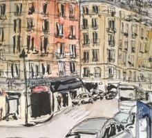 An urban sketch from a recent trip to Paris Sticker