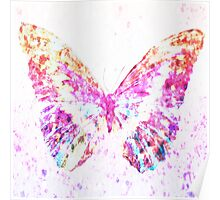 Beautiful dry painted pink butterfly Poster