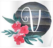 Floral Monogram V Poster