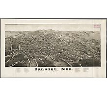 Vintage Pictorial Map of Danbury CT (1884) Photographic Print