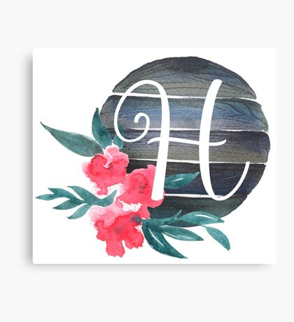 Floral Monogram H Canvas Print