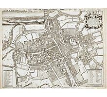 Vintage Map of Oxford England (1675) Photographic Print