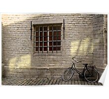Bike leaning against Wall Poster