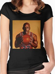 Michael Jordan painting 2 Women's Fitted Scoop T-Shirt