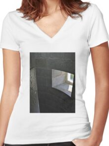 Stone window Women's Fitted V-Neck T-Shirt