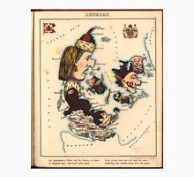 Vintage Map of Denmark with Illustrations (1868) Unisex T-Shirt