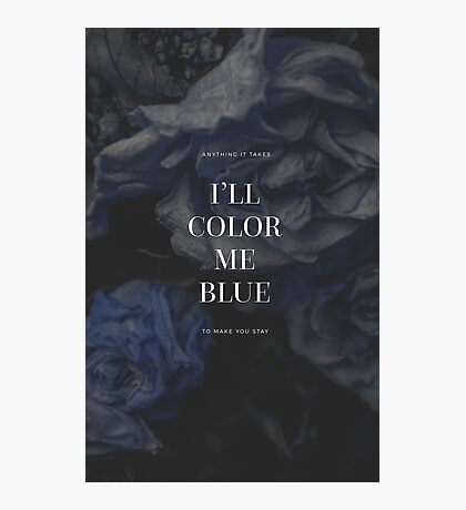 Dark Blue Floral Quotes Photographic Print