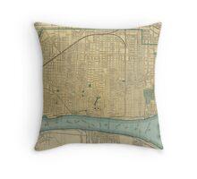 Vintage Map of Detroit Michigan (1895) Throw Pillow