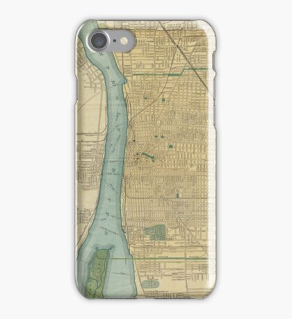 Vintage Map of Detroit Michigan (1895) iPhone Case/Skin