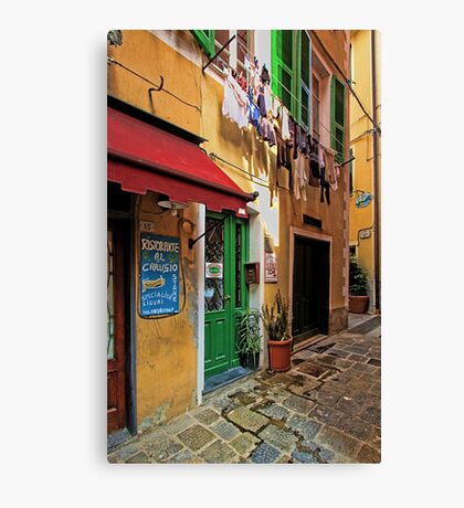 Clothes Drying and Pasta Cooking - Monterosso, Italy Canvas Print