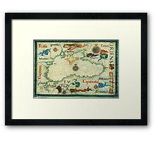 Vintage Map of The Black Sea (1559) Framed Print