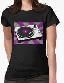 Disco DJ Turntable Vinyl Record Purple Party Music Womens Fitted T-Shirt