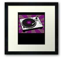 Disco DJ Turntable Vinyl Record Purple Party Music Framed Print