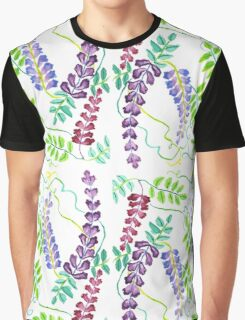 Hand-Painted Watercolor Japanese Wisteria Flowers Graphic T-Shirt