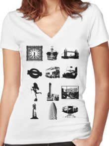 Britain Women's Fitted V-Neck T-Shirt