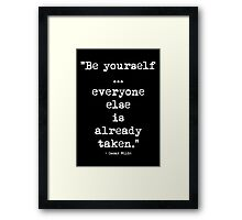 Oscar Wilde Be Yourself White Framed Print