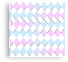 gradient geometric diamonds baby blue pink aqua Canvas Print