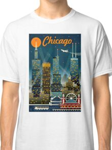 """CHICAGO"" Vintage Travel Advertising Print Classic T-Shirt"
