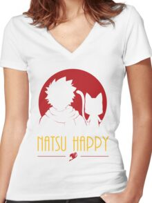 Happy Natsu Women's Fitted V-Neck T-Shirt